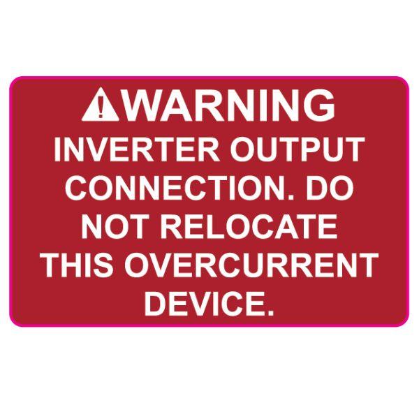 Solar Label, WARNING INVERTER OUTPUT…OVERCURRENT DEVICE, 2.0