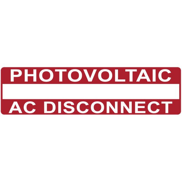 Solar Label, Printable, PHOTOVOLTAIC AC DISCONNECT, 3.75