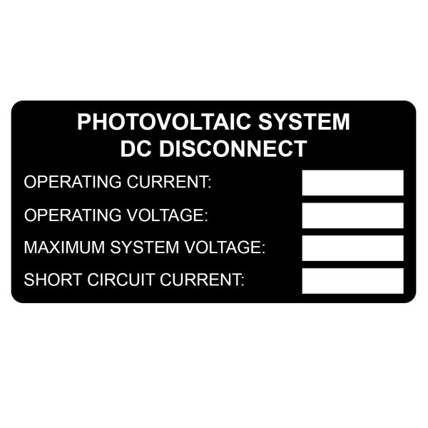Metal Solar Placard, DC Rating Label, 4.0