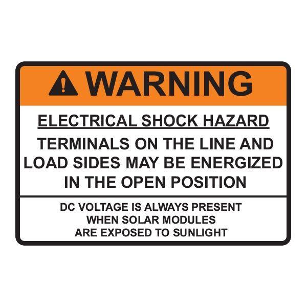 Solar Label, 2017 Code, WARNING ELECTRICAL SHOCK…DC VOLTAGE, 3.75