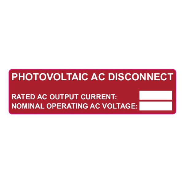 Solar Label, Pre-Printed, PHOTOVOLTAIC AC DISCONNECT, 3.75