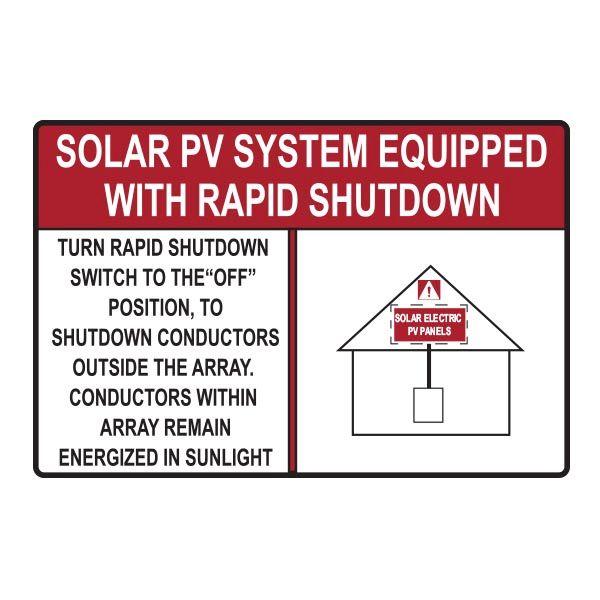Solar Label, Reflective, 2017 Code, SOLAR PV SYSTEM…SHUTDOWN, 6.0