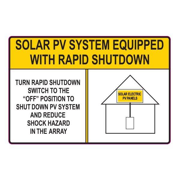 Solar Label, Reflective, SOLAR PV SYSTEM…SHUTDOWN, 6.0