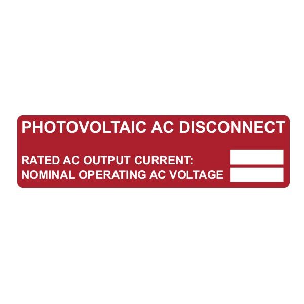 Solar Label, Pre-Printed, 2017 Code, PV AC DISCONNECT RATING, 3.75