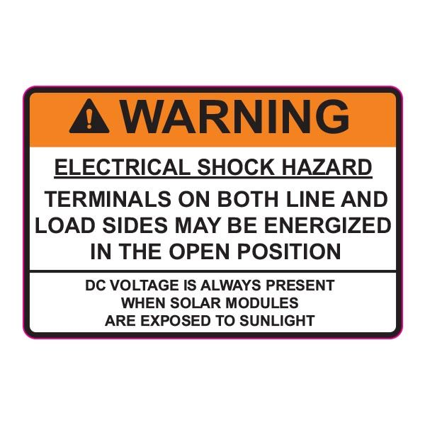 Solar Label, 2017 Code, WARNING ELECTRICAL SHOCK…DC VOLTAGE, 3.75