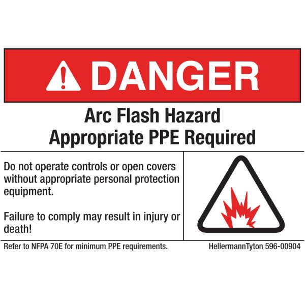 Arc Flash Label, DANGER APPROPRIATE PPE REQUIRED, 5.0