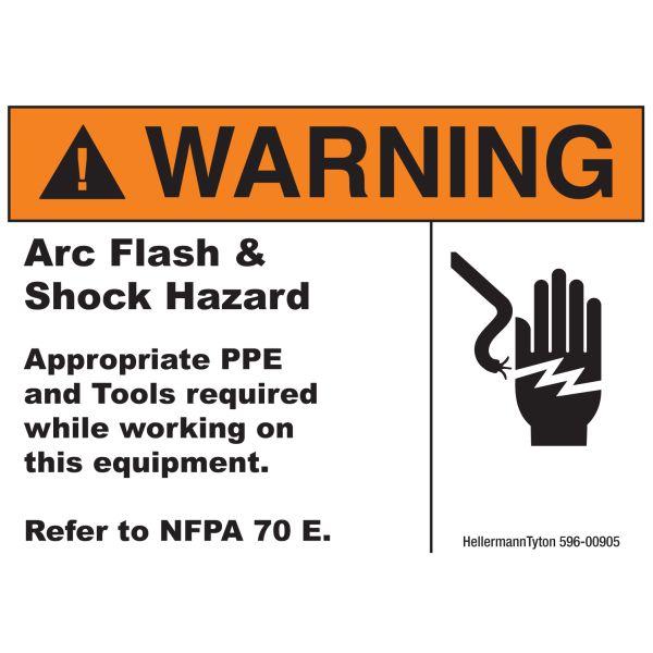 Arc Flash Label, WARNING ARC FLASH AND SHOCK HAZARD, 5.0
