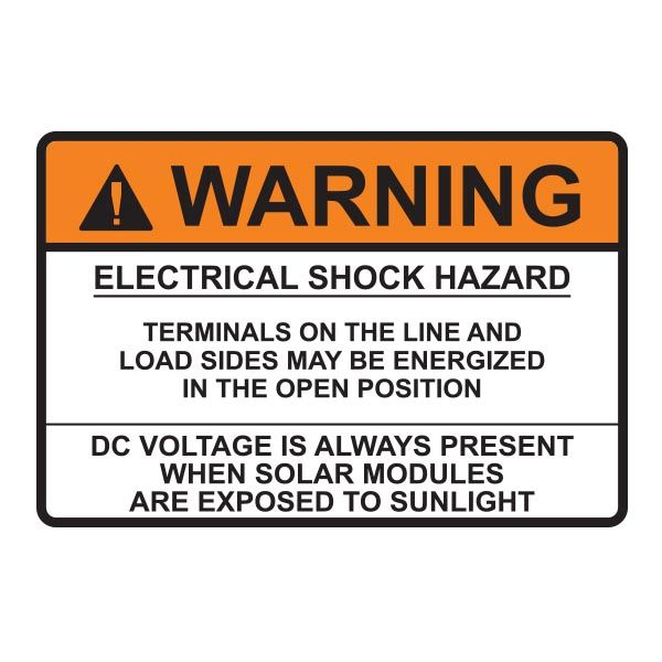 Metal Solar Placard, 2017 Code, WARNING ELECTRICAL…DC VOLTAGE, 3.75