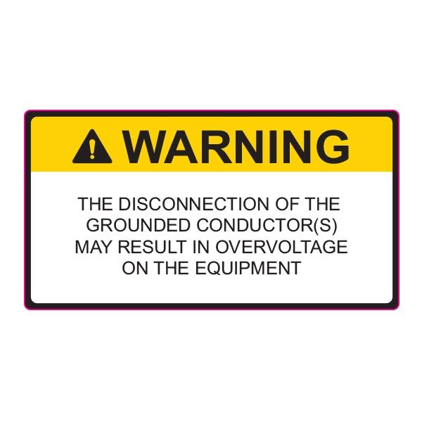 Solar Label, 2017 Code, WARNING DISCONNECTION OF GROUNDED..., 3.75