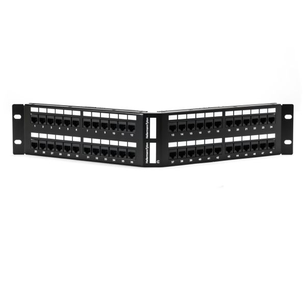 Category 6 Angled Universal 48 Port Patch Panel, 2U, Black, 1/box