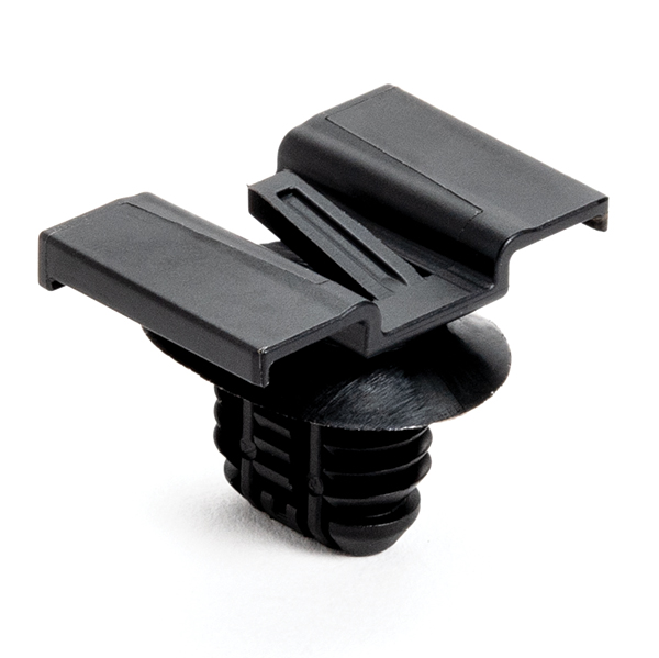 Connector Clip w/Fir Tree, 0.51 - 6.5 mm Panel Thickness, 8.0 x 15.0 mm Hole Dia, PA66HIRHS, Black, 4000/ctn