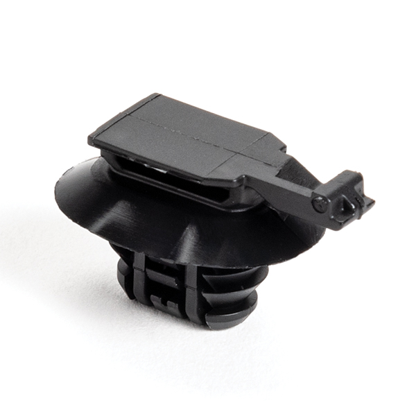 Connector Clip, Mounting Hole Dia. 8.0–15.0mm, PA66HIRHSUV, Black, 5000/carton