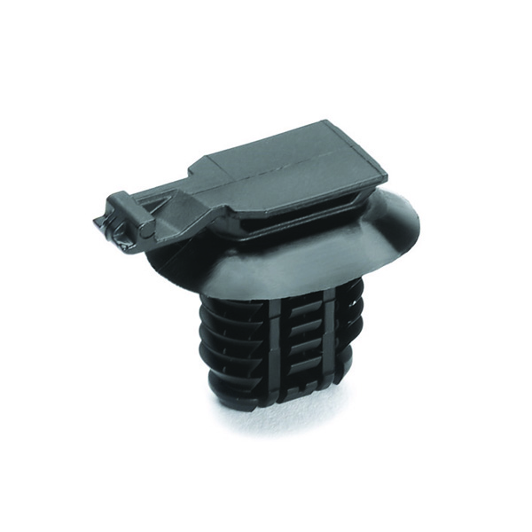 Connector Clip, Mounting Hole Dia. 8.0–15.0mm, PA66HIRHS, Black, 5000/carton