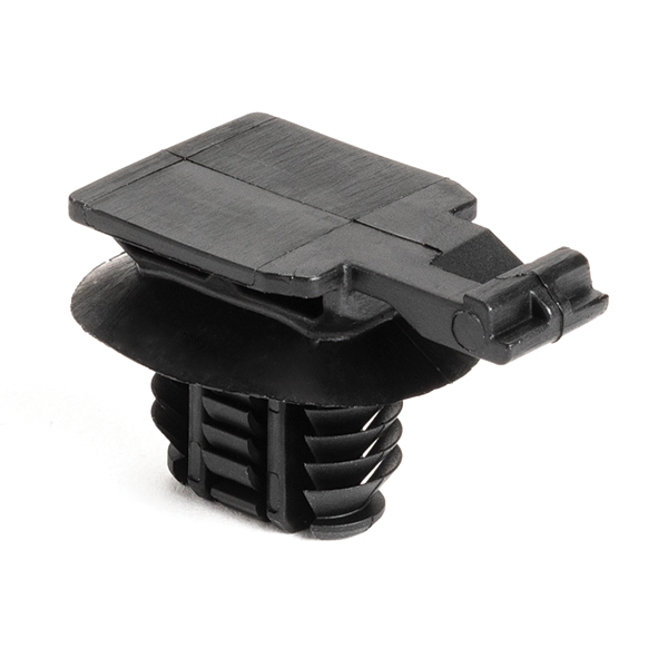 Connector Clip, 17mm, Mounting Hole Dia. 8x15 mm, PA66HIRHSUV, Black, 2500/carton