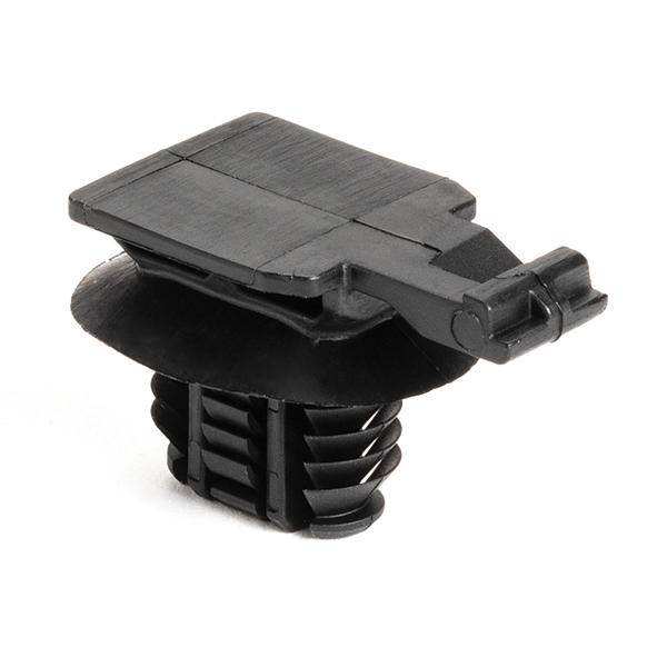 Connector Clip, 17mm, Hole Dia., 8x15 mm, PA66HIRHSUV, Black, 2500/carton