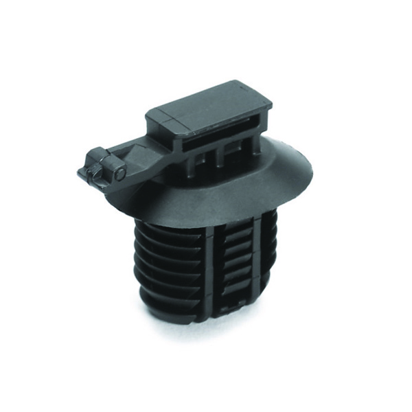 Connector Clip, Mounting Hole Dia. 12.0–17.0mm, PA66HIRHSUV, Black, 4000/carton