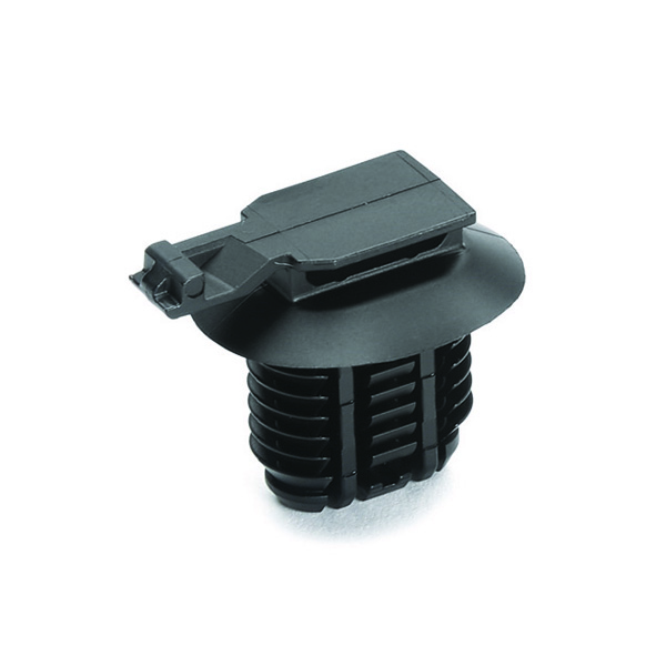 Connector Clip, Mounting Hole Dia. 9.0–17.0mm, PA66HIRHS, Black, 3000/carton