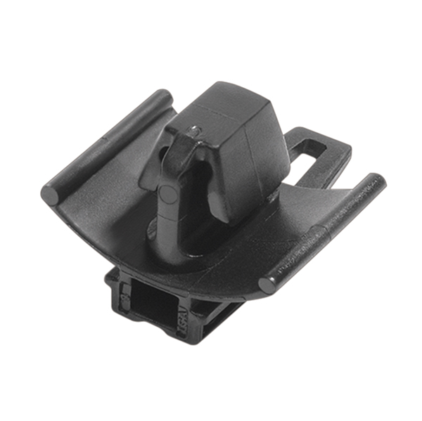 Connector Clip w/Arrowhead, 0.7 - 3.0mm Panel Thickness, 6.5 x 13.0mm Hole Diameter, PA66HIRHS, Black, 5000/box