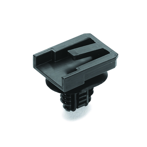 Connector Clip w/Oval Fir Tree, 0.51 - 6.75 mm Panel Thickness, Hole Dia. 6.2–13.0mm, PA66HIRHS, Black, 3500/ctn