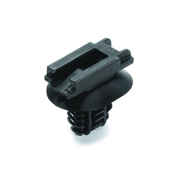 Connector Clip w/Oval Fir Tree, Mounting Hole Dia. 6.2–13.0mm, PA66HIRHS, Black, 5000/carton