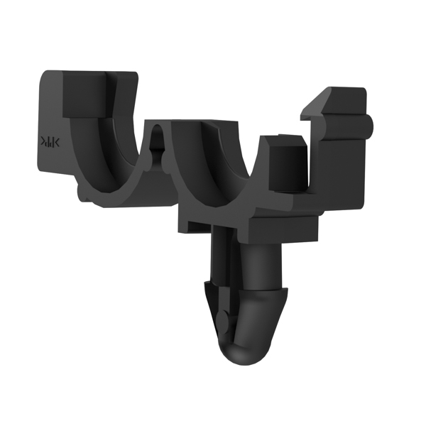 Conduit Clamps, Size 9, Attach Hole Dia. 6.35, Fir Tree, PP, Black, 800/pkg