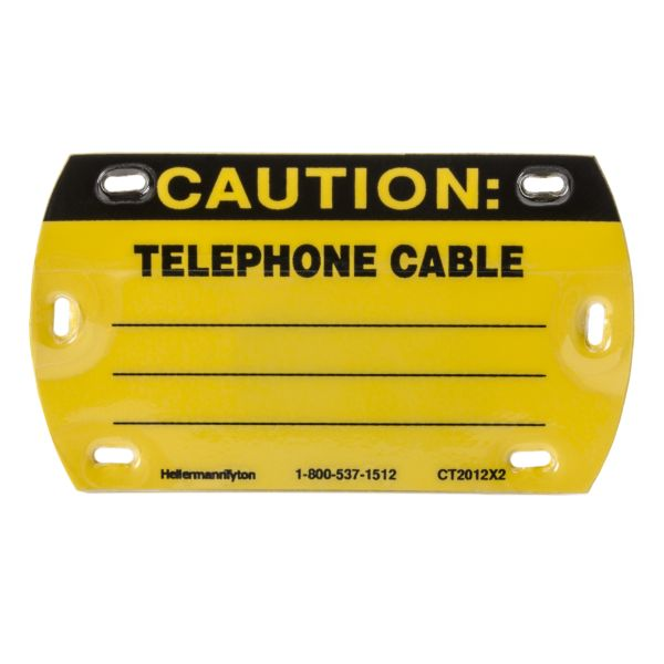 Self-Laminating Tag, Caution Write-On, Telephone Cable, 3.5