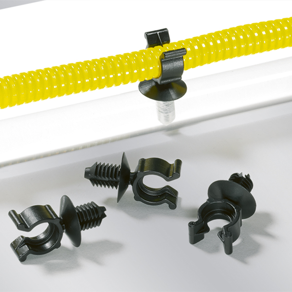 Convoluted Tube Clip; Max Bun Dia 10mm; Hole Dia 6.5-7mm; Panel .75-3.0mm; PA66HIRHS Black