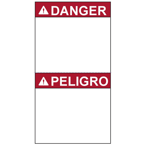 Pre-Printed Header Label, DANGER, English/Spanish, Perforated, 2.75