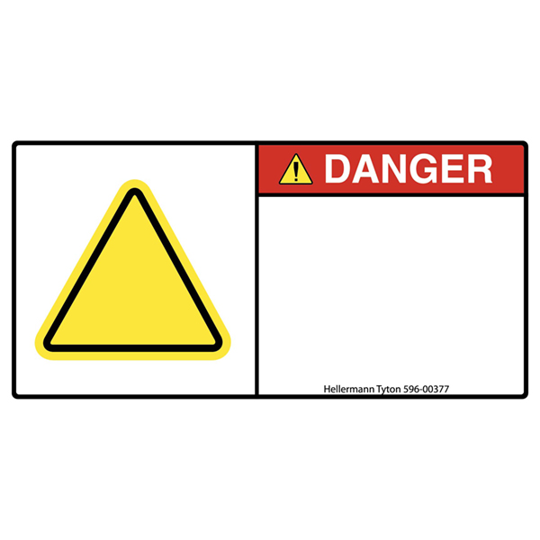 Pre-Printed Header Label, DANGER, Blank Yellow Triangle, 1.35