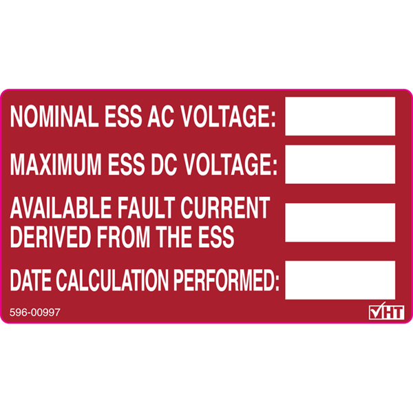 Solar Label, Printable, ENERGY STORATE SYSTEM RATING LABEL, 3.75