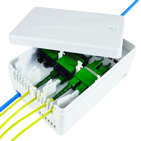 Fiber Distribution Enclosure, Splice and Patch, No Adapters or Pigtails included, White, 1/pkg