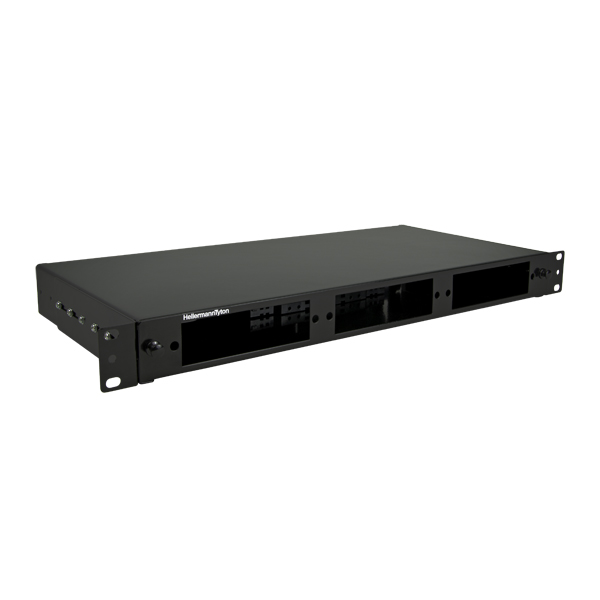 Rack Mount Fiber Enclosure-Unloaded, no door, Accepts 3 LGX Adapter Panels, 1U, Black, 1/pkg