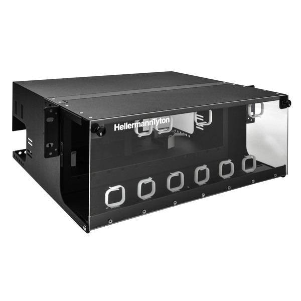 Rack Mount Fiber Enclosure-Unloaded, Accepts 12 LGX Adapter Panels, 4U, Black, 1/pkg