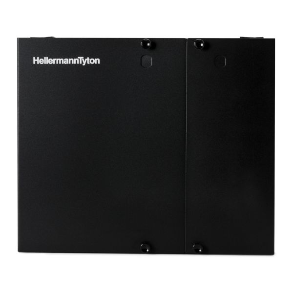 Wall Mount Fiber Enclosure, Unloaded, accepts 2 Adapter Panels, 1 Splice Tray, Black, 1/pkg