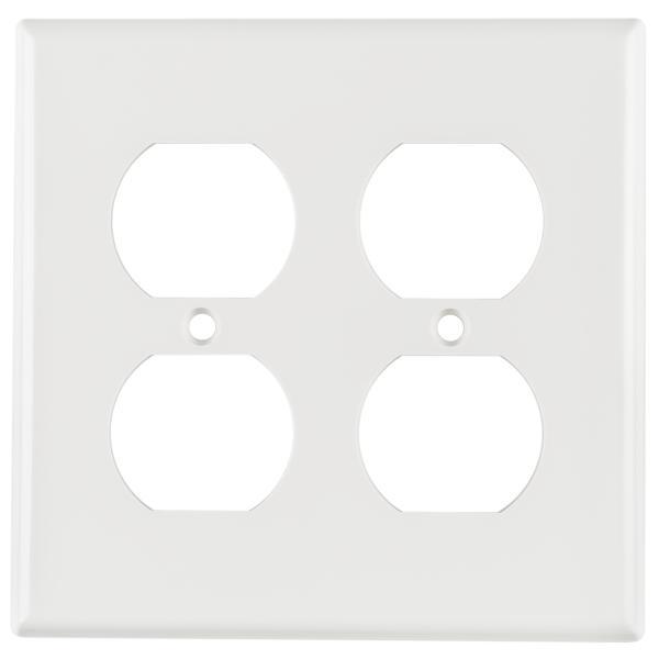 Dual Gang 106 Duplex Faceplate, ABS 94V-0, White, 1/pkg