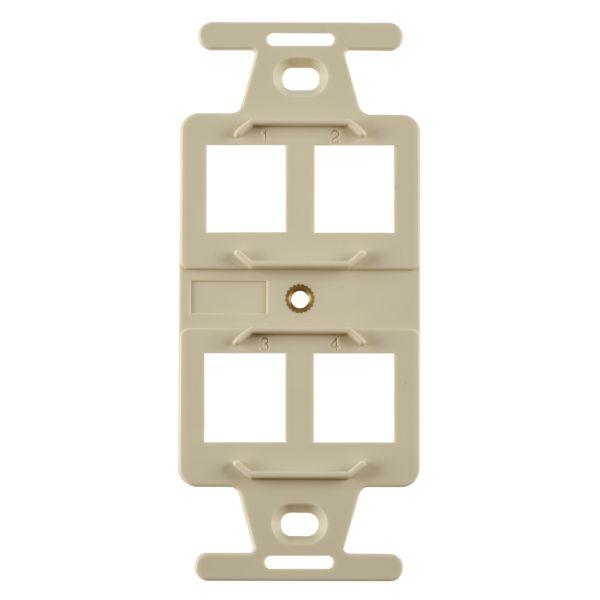 106 Duplex 4 Port Mounting Frame, ABS 94V-0, Ivory, 1/pkg
