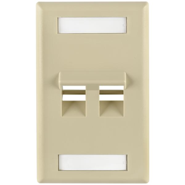 Angled 2 Port Faceplate With ID Window ABS 94V-0, Ivory, 1/pkg