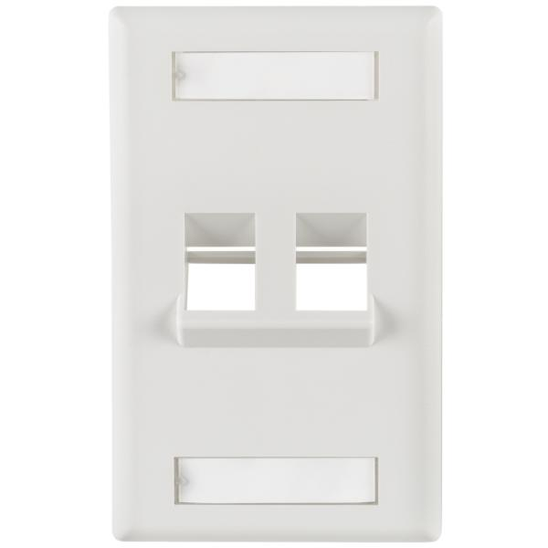 Angled 2 Port Faceplate With ID Window ABS 94V-0, White, 1/pkg