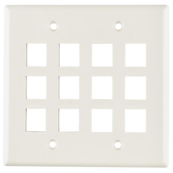Dual Gang 12 Port Flush Mount Faceplate, ABS 94V-0, Office White, 1/pkg