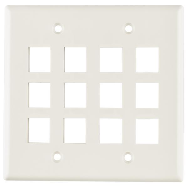 Dual Gang 12 Port Flush Mount Faceplate, ABS 94V-0, Office White, 1/pkg