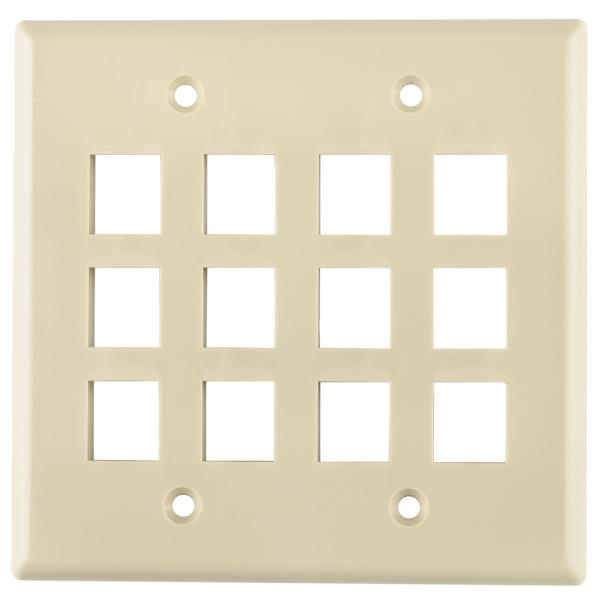 Dual Gang 12 Port Flush Mount Faceplate, ABS 94V-0, Ivory, 1/pkg