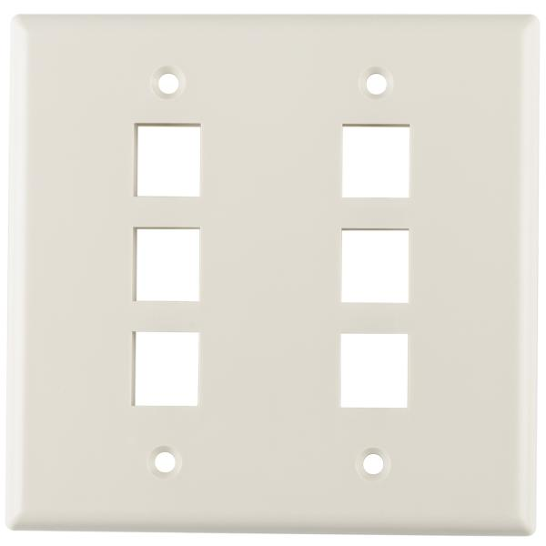 Dual Gang 6 Port Flush Mount Faceplate, ABS 94V-0, Office White, 1/pkg