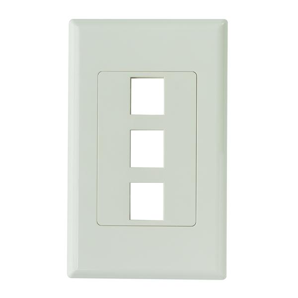 Screwless Decora 3 Port Faceplate, ABS 94V-0, Office White, 1/pkg