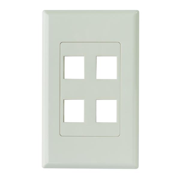Screwless Decora 4 Port Faceplate, ABS 94V-0, Office White, 1/pkg