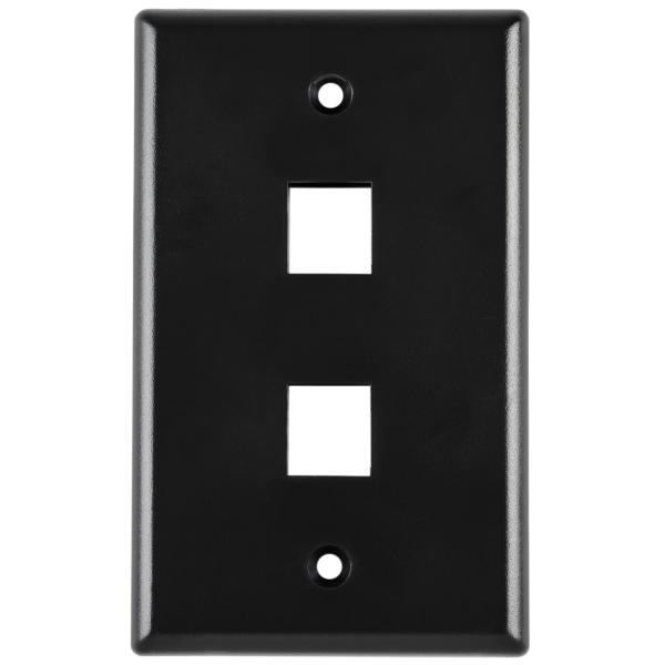 Standard Single Gang 2 Port Faceplate, ABS 94V-0, Black, 1/pkg