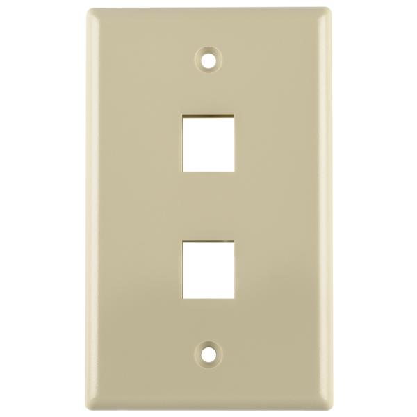 ABS 94V-0 Office White Hellermann Tyton FPIDUAL-FW Single Gang 2 Port Faceplate With ID Windows
