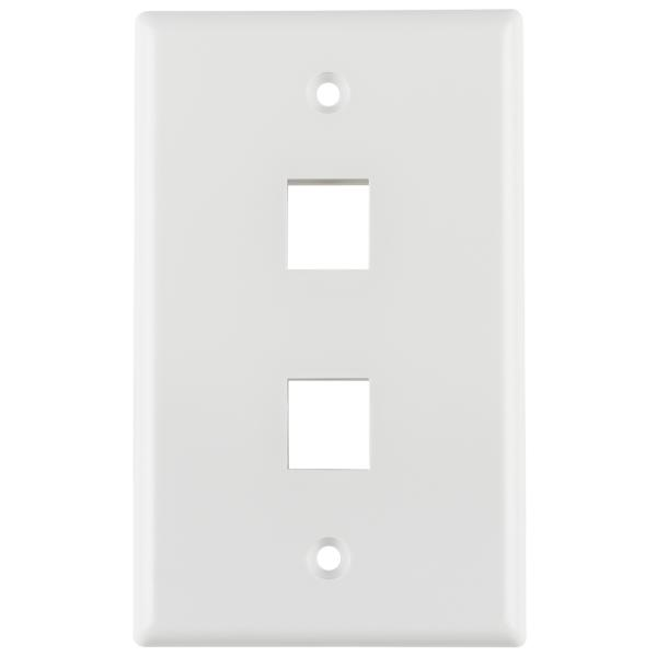 Standard Single Gang 2 Port Faceplate, ABS 94V-0, White, 1/pkg