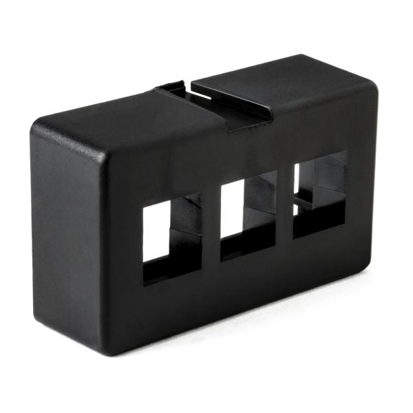 Modular Furniture Faceplate 3 Port, PVC, Black, 1/pkg