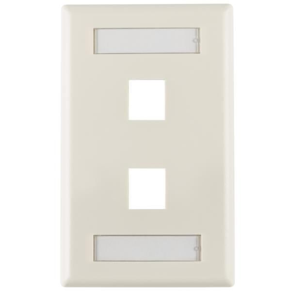 Single Gang 2 Port Faceplate With ID Windows, ABS 94V-0, Office White, 1/pkg
