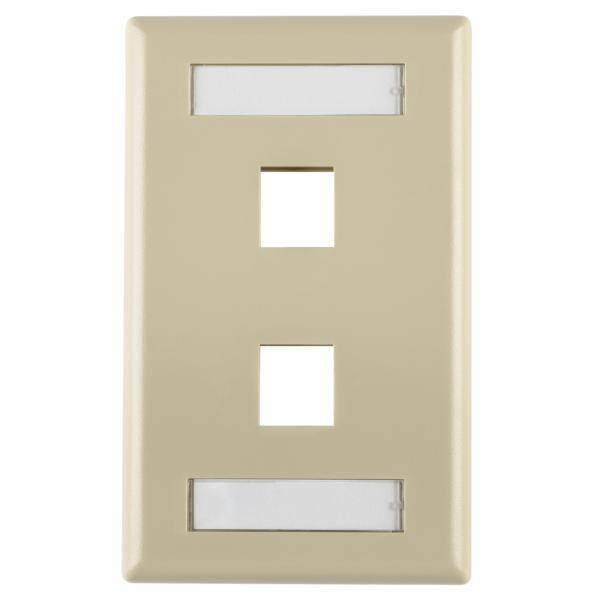Single Gang 2 Port Faceplate With ID Windows, ABS 94V-0, Ivory, 1/pkg